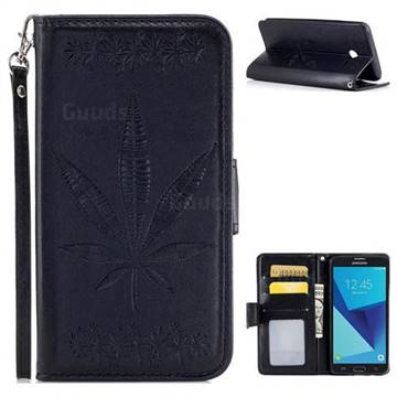 Intricate Embossing Maple Leather Wallet Case for Samsung Galaxy J5 2017 US Edition - Black