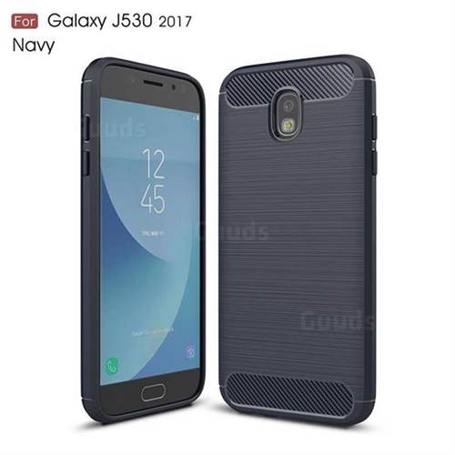 Luxury Carbon Fiber Brushed Wire Drawing Silicone TPU Back Cover for Samsung Galaxy J5 2017 J530 Eurasian (Navy)