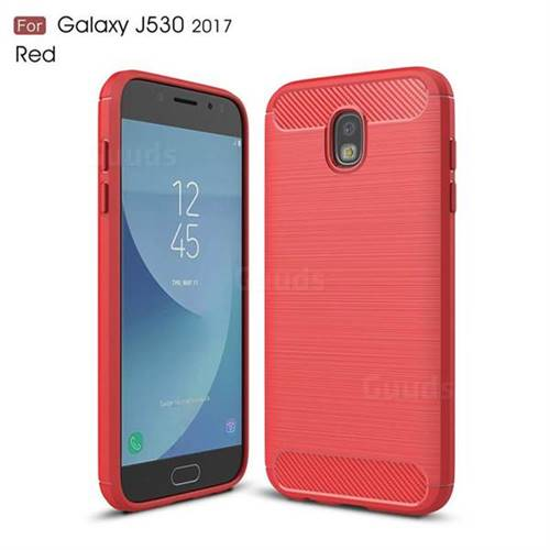 Luxury Carbon Fiber Brushed Wire Drawing Silicone TPU Back Cover for Samsung Galaxy J5 2017 J530 Eurasian (Red)