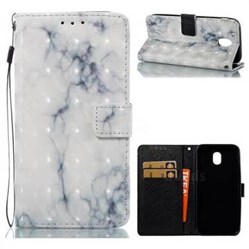 White Gray Marble 3D Painted Leather Wallet Case for Samsung Galaxy J5 2017 J530
