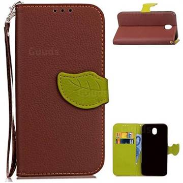 Leaf Buckle Litchi Leather Wallet Phone Case for Samsung Galaxy J5 2017 J530 - Brown