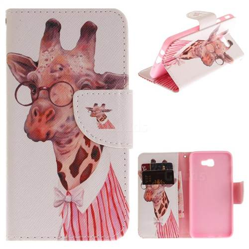 Pink Giraffe PU Leather Wallet Case for Samsung Galaxy J5 Prime