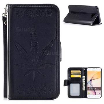 Intricate Embossing Maple Leather Wallet Case for Samsung Galaxy J5 Prime - Black