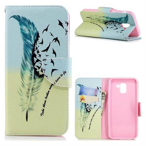 Feather Bird Leather Wallet Case for Samsung Galaxy J6 (2018) SM-J600F