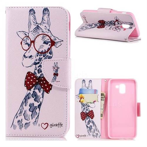 Glasses Giraffe Leather Wallet Case for Samsung Galaxy J6 (2018) SM-J600F