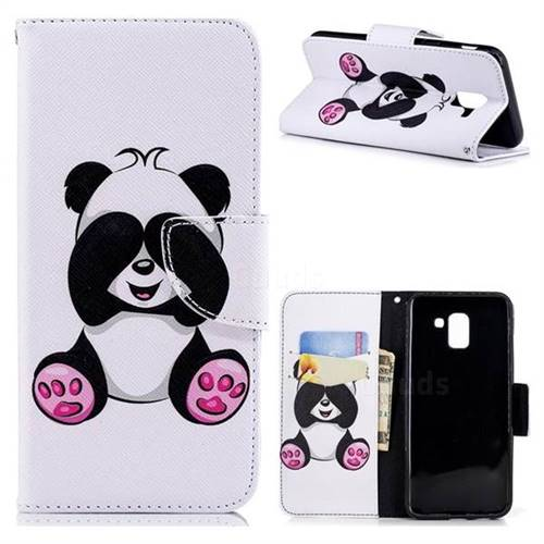Lovely Panda Leather Wallet Case for Samsung Galaxy J6 (2018) SM-J600F