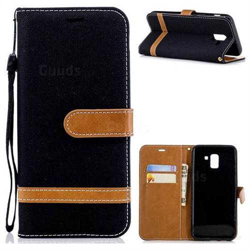 Jeans Cowboy Denim Leather Wallet Case for Samsung Galaxy J6 (2018) SM-J600F - Black