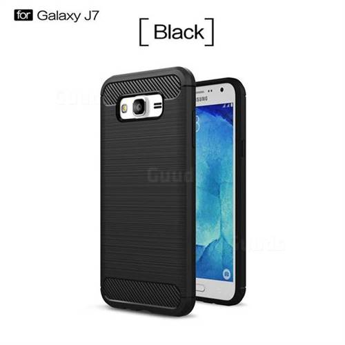 Luxury Carbon Fiber Brushed Wire Drawing Silicone TPU Back Cover for Samsung Galaxy J7 2015 J700 (Black)