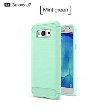 Luxury Carbon Fiber Brushed Wire Drawing Silicone TPU Back Cover for Samsung Galaxy J7 2015 J700 (Mint Green)