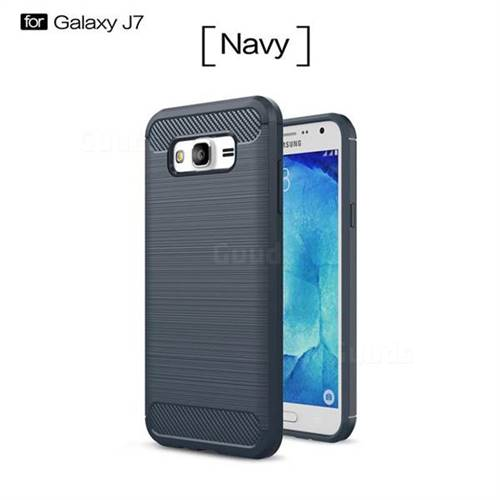 Luxury Carbon Fiber Brushed Wire Drawing Silicone TPU Back Cover for Samsung Galaxy J7 2015 J700 (Navy)