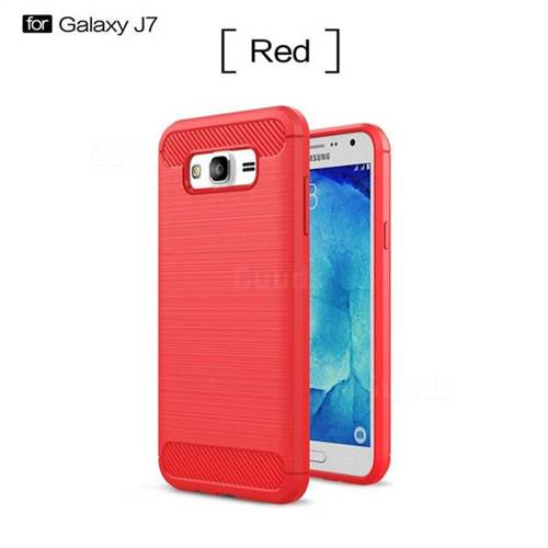 Luxury Carbon Fiber Brushed Wire Drawing Silicone TPU Back Cover for Samsung Galaxy J7 2015 J700 (Red)