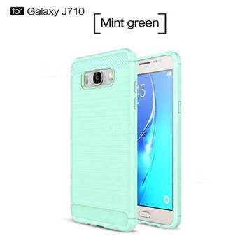 Luxury Carbon Fiber Brushed Wire Drawing Silicone TPU Back Cover for Samsung Galaxy J7 2016 J710 (Mint Green)