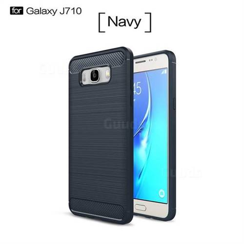 Luxury Carbon Fiber Brushed Wire Drawing Silicone TPU Back Cover for Samsung Galaxy J7 2016 J710 (Navy)