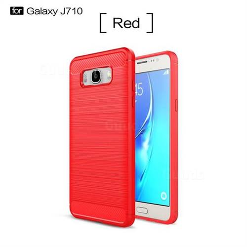 Luxury Carbon Fiber Brushed Wire Drawing Silicone TPU Back Cover for Samsung Galaxy J7 2016 J710 (Red)