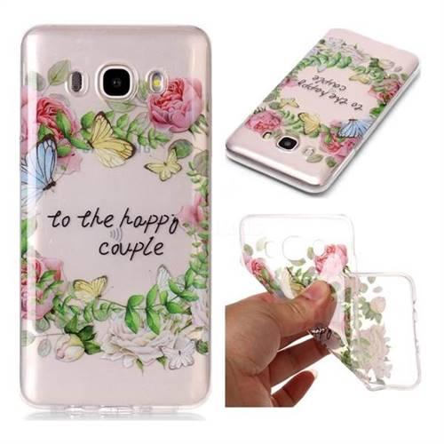 Green Leaf Rose Super Clear Soft TPU Back Cover for Samsung Galaxy J7 2016 J710