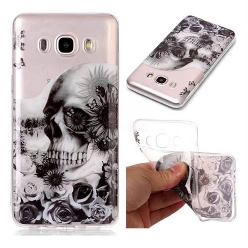 Black Flower Skull Super Clear Soft TPU Back Cover for Samsung Galaxy J7 2016 J710