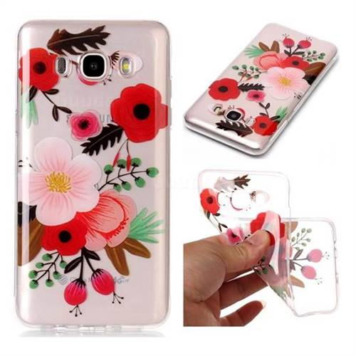 Painting Flowers Super Clear Soft TPU Back Cover for Samsung Galaxy J7 2016 J710