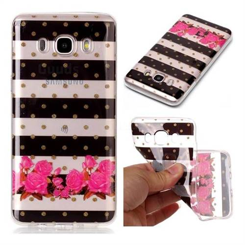 Striped Flowers Super Clear Soft TPU Back Cover for Samsung Galaxy J7 2016 J710