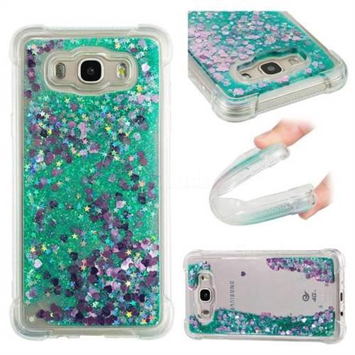 Dynamic Liquid Glitter Sand Quicksand TPU Case for Samsung Galaxy J7 2016 J710 - Green Love Heart