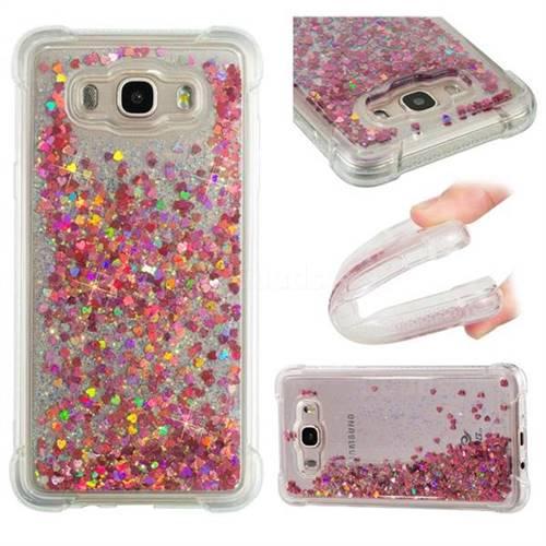 Dynamic Liquid Glitter Sand Quicksand TPU Case for Samsung Galaxy J7 2016 J710 - Rose Gold Love Heart