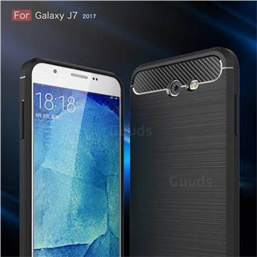 Luxury Carbon Fiber Brushed Wire Drawing Silicone TPU Back Cover for Samsung Galaxy J7 2017 Halo US Edition (Black)