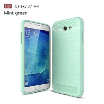 Luxury Carbon Fiber Brushed Wire Drawing Silicone TPU Back Cover for Samsung Galaxy J7 2017 Halo US Edition (Mint Green)