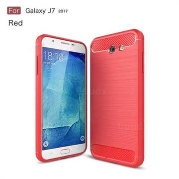Luxury Carbon Fiber Brushed Wire Drawing Silicone TPU Back Cover for Samsung Galaxy J7 2017 Halo US Edition (Red)