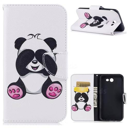 Lovely Panda Leather Wallet Case for Samsung Galaxy J7 2017 Halo
