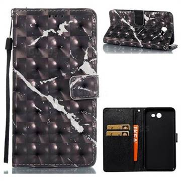 Black Marble 3D Painted Leather Wallet Case for Samsung Galaxy J7 2017 Halo