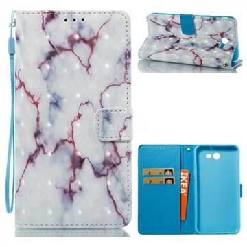 White Purple Marble 3D Painted Leather Wallet Case for Samsung Galaxy J7 2017 Halo