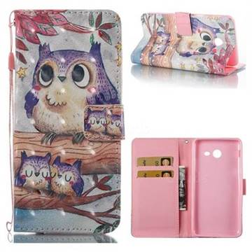 Purple Owl 3D Painted Leather Wallet Case for Samsung Galaxy J7 2017 Halo US Edition