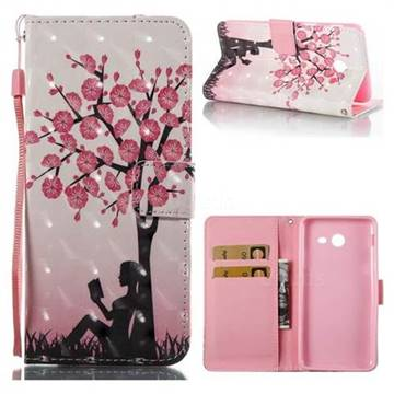 Plum Girl 3D Painted Leather Wallet Case for Samsung Galaxy J7 2017 Halo US Edition