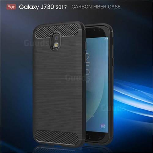 Luxury Carbon Fiber Brushed Wire Drawing Silicone TPU Back Cover for Samsung Galaxy J7 2017 J730 Eurasian (Black)