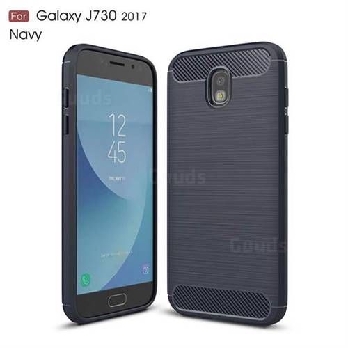 Luxury Carbon Fiber Brushed Wire Drawing Silicone TPU Back Cover for Samsung Galaxy J7 2017 J730 Eurasian (Navy)