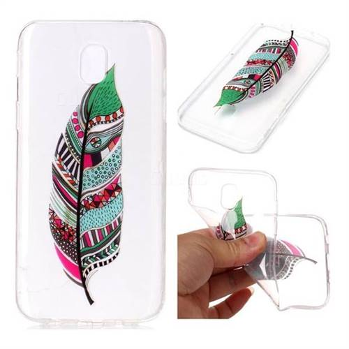 Green Feathers Super Clear Soft TPU Back Cover for Samsung Galaxy J7 2017 J730 Eurasian