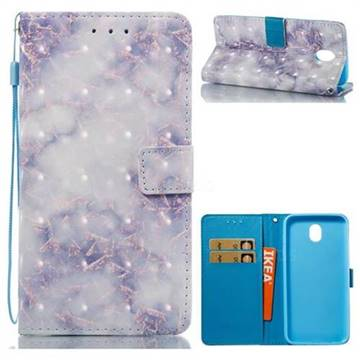 Green Gray Marble 3D Painted Leather Wallet Case for Samsung Galaxy J7 2017 J730