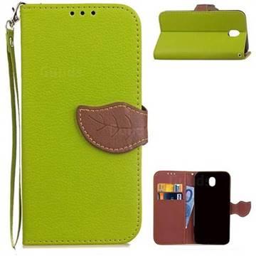 Leaf Buckle Litchi Leather Wallet Phone Case for Samsung Galaxy J7 2017 J730 - Green