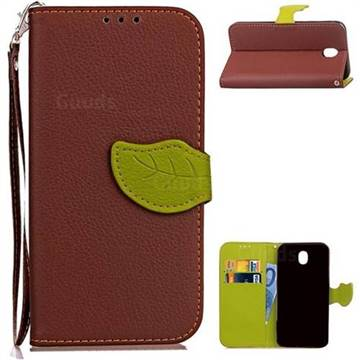 Leaf Buckle Litchi Leather Wallet Phone Case for Samsung Galaxy J7 2017 J730 - Brown