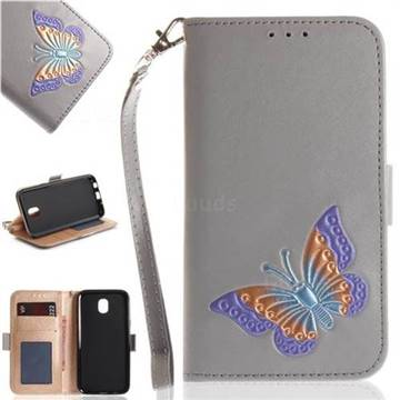 Imprint Embossing Butterfly Leather Wallet Case for Samsung Galaxy J7 2017 J730 Eurasian - Grey