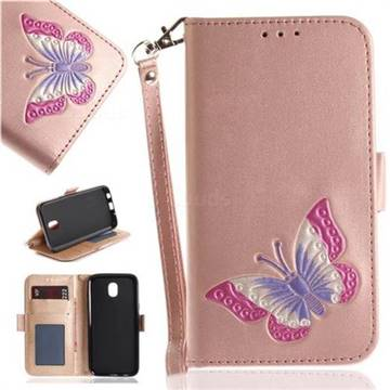 Imprint Embossing Butterfly Leather Wallet Case for Samsung Galaxy J7 2017 J730 Eurasian - Rose Gold