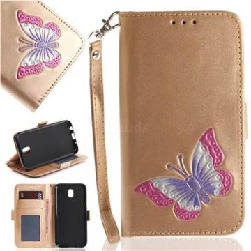 Imprint Embossing Butterfly Leather Wallet Case for Samsung Galaxy J7 2017 J730 Eurasian - Golden