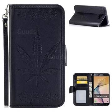 Intricate Embossing Maple Leather Wallet Case for Samsung Galaxy J7 Prime G610 - Black
