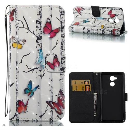 Colored Butterflies 3D Painted Leather Wallet Case for Huawei Enjoy 6s Honor 6C Nova Smart