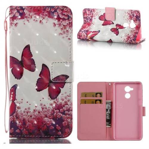 Rose Butterfly 3D Painted Leather Wallet Case for Huawei Enjoy 6s Honor 6C Nova Smart