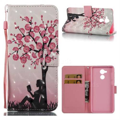 Plum Girl 3D Painted Leather Wallet Case for Huawei Enjoy 6s Honor 6C Nova Smart