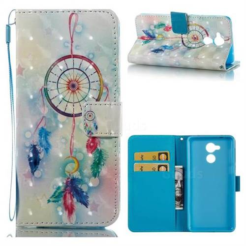 Feather Wind Chimes 3D Painted Leather Wallet Case for Huawei Enjoy 6s Honor 6C Nova Smart