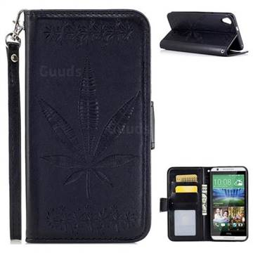 Intricate Embossing Maple Leather Wallet Case for HTC Desire 820 D820 - Black