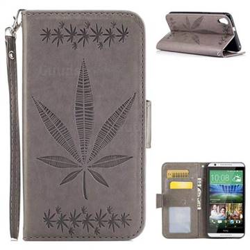 Intricate Embossing Maple Leather Wallet Case for HTC Desire 820 D820 - Gray