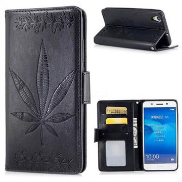 Intricate Embossing Maple Leather Wallet Case for Huawei Honor 5A - Black