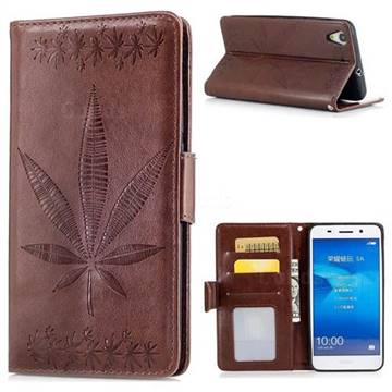 Intricate Embossing Maple Leather Wallet Case for Huawei Honor 5A - Brown